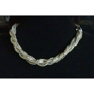 Guess Silver Tone Twisted Texture Collar Necklace